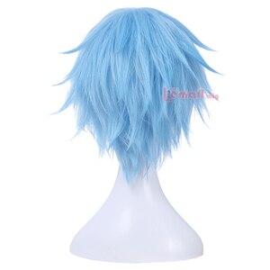 Image 4 - L email Peluca de Cosplay Kuroko no Basket para hombre, peluca corta de pelo sintético azul claro de 30cm