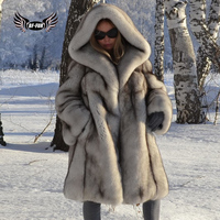 BFFUR Capped Woman Winter 2018 New Arrival Real Blue Fox Fur Coat Natural Fur Jacket Genuine Leather Fashion Clothing Full Pelt