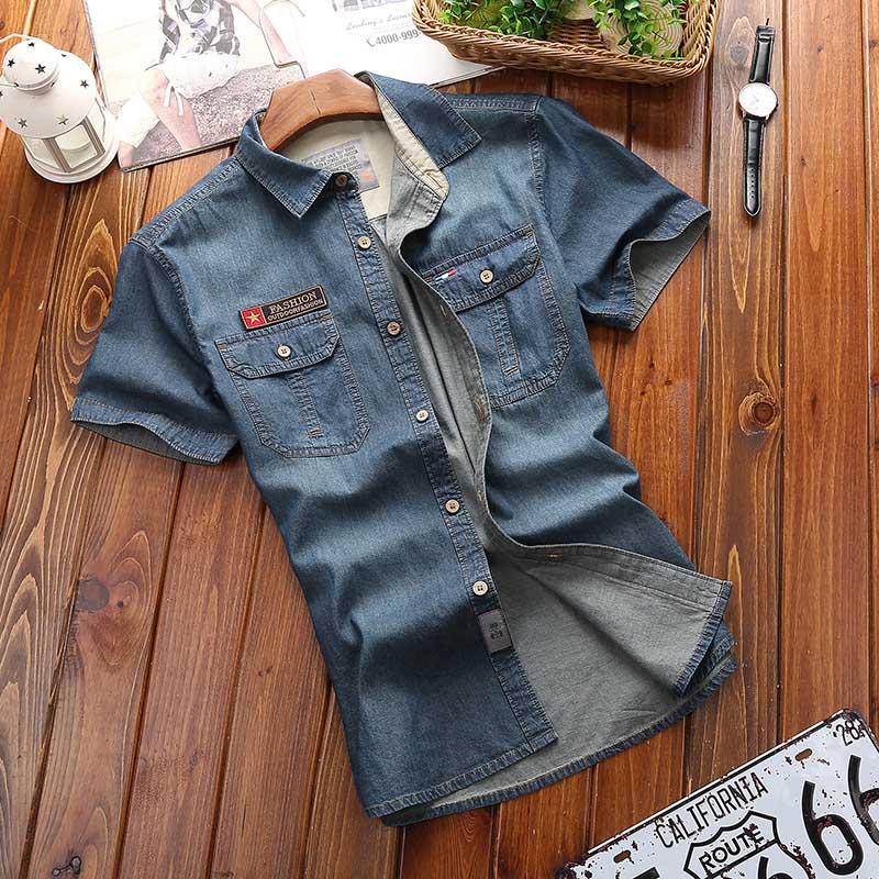 Image 2 - Los hombres de moda nuevo verano camisas de manga corta de mezclilla de hombres Casual de algodón de cuello Camisa Hombre Camisasmens denim shirtmale denim shirtdenim shirt -