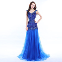 Real Photo Shiny Royal Blue Beading Mermaid Prom Dresses 2017 Backless Long Prom Gowns Beaded Evening Party Dress Robe De Soiree