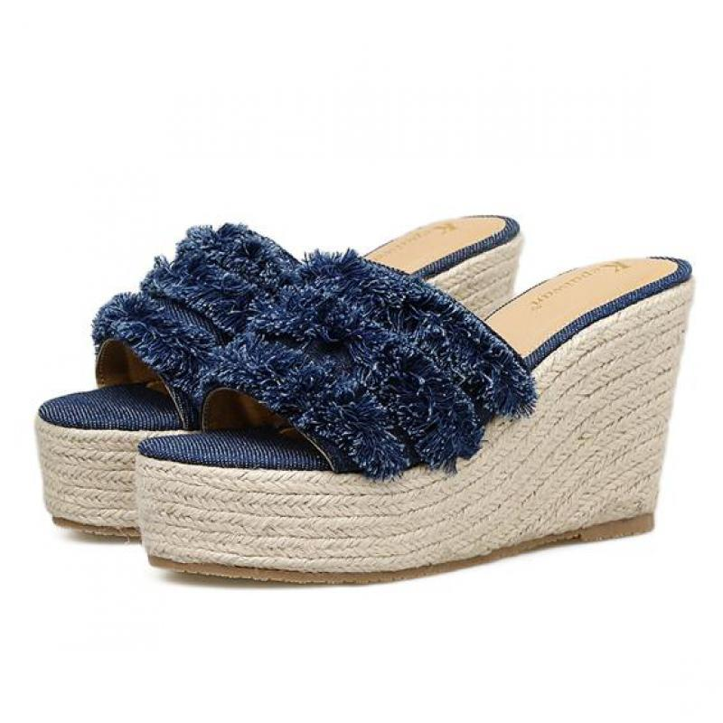 Summer New High Heel Linen Straw Denim Blue sandals With Platform Outside Wear Wedges Woman Beach