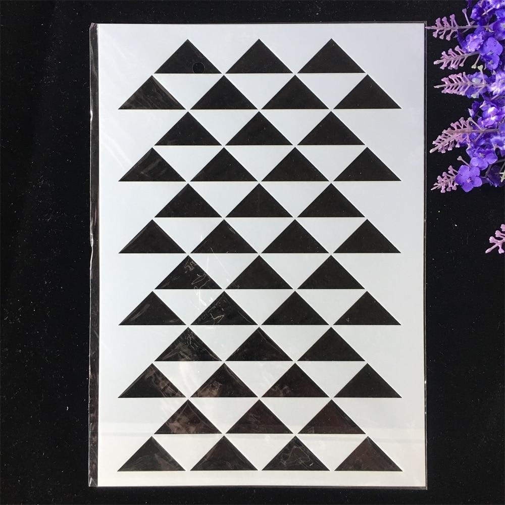 1Pcs A4 29*21cm Tri-angle Geometry DIY Layering Stencils Painting Scrapbook Coloring Embossing Album Decorative Template