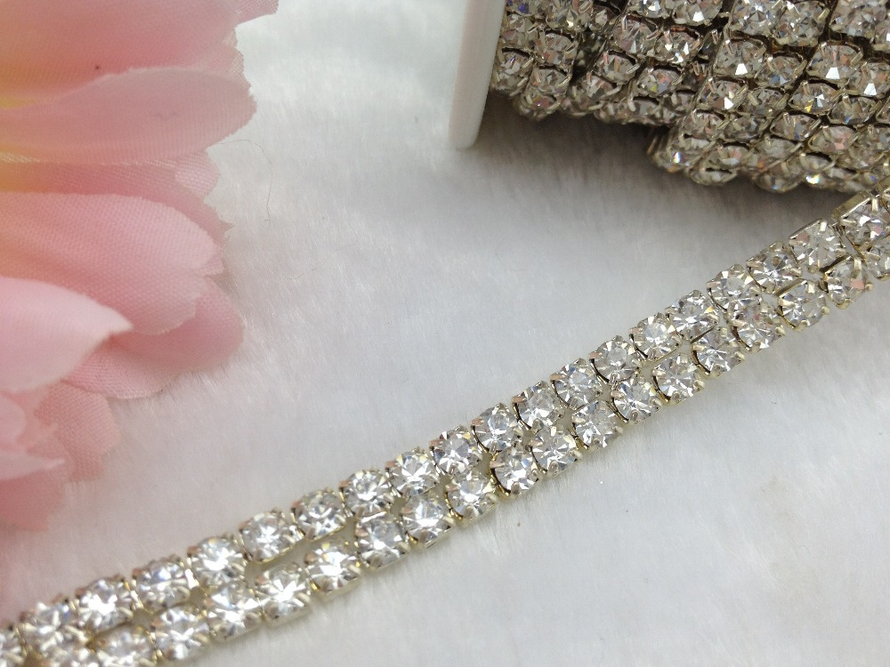 free shipping 2 Rows 4mm <font><b>888</b></font> <font><b>Rhinestone</b></font> <font><b>chain</b></font> Cake Ribbon <font><b>Trim</b></font> Wedding Decoration x 1 <font><b>yard</b></font>