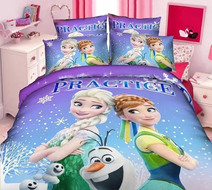 Cheap Bedroom Sets Kids Elsa From Frozen For Girls Toddler: Purple Frozen Elsa Anna Print Bedding Set Girl's Children