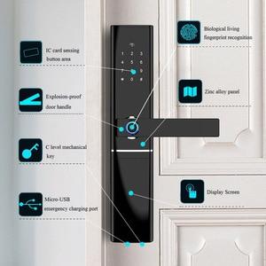 Image 3 - Akıllı elektronik kilit parmak izi kapı kilidi güvenlik akıllı kilit biyometrik Wifi kapı kilidi Bluetooth APP kilidini