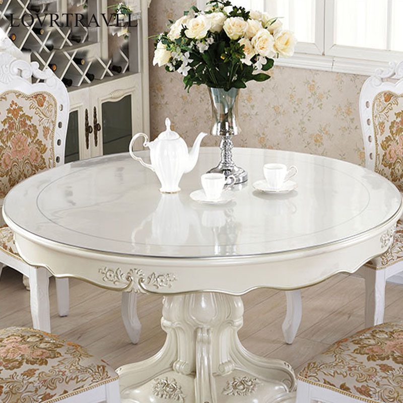 Round Tablecloth Transparent PVC Tablecloth Waterproof Kitchen Pattern Oil Table Cover LOVRTRAVEL Glass Soft Cloth Table Cover