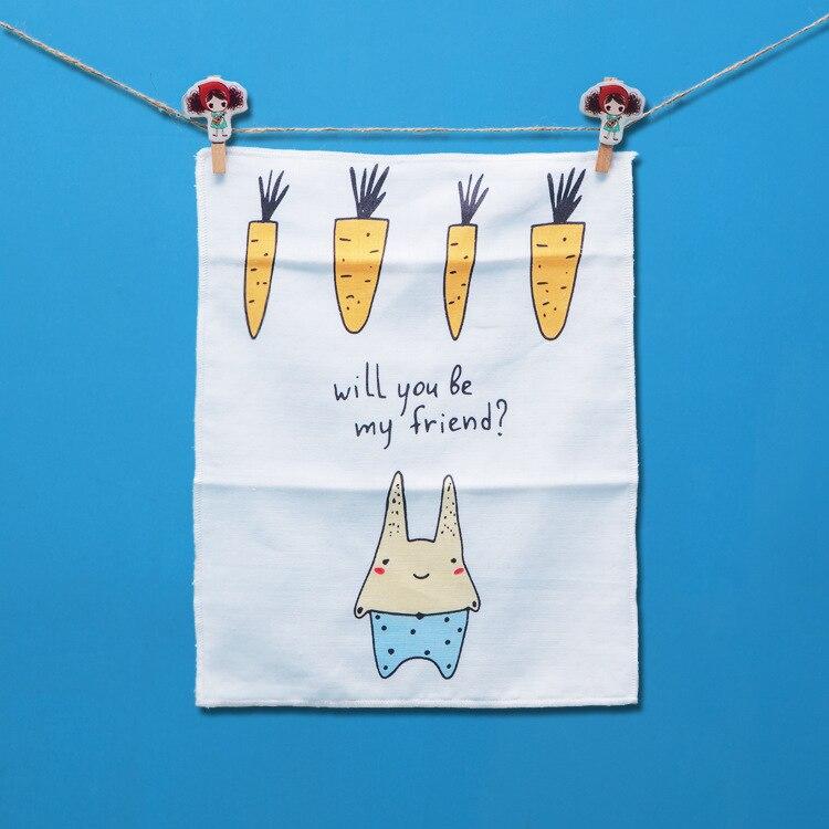 2Pcs/Sets Four Layers Cotton Gauze Cartoon Printed Bibs Baby Feeding Towel Handkerchief Baby Wash Face Towel