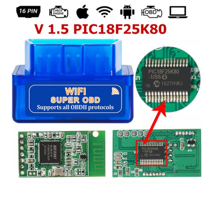 OBD ELM327 WIFI V1.5 OBD2 Auto Elm 327 PIC18F25K80 eml327 Obd 2 Auto Scanner Automotive Strumento Diagnostico Lettore di Codice Android IOS