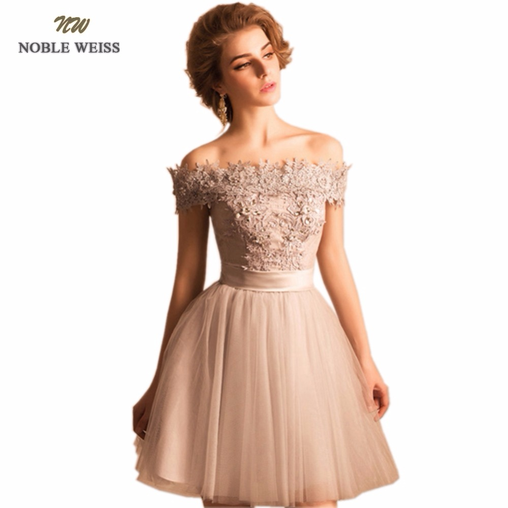 NOBLE WEISS Gray   Prom     Dress   2019 Customized Fashion Boat Neck Appliques Beading Tulle A-Line Party Gown   Dresses