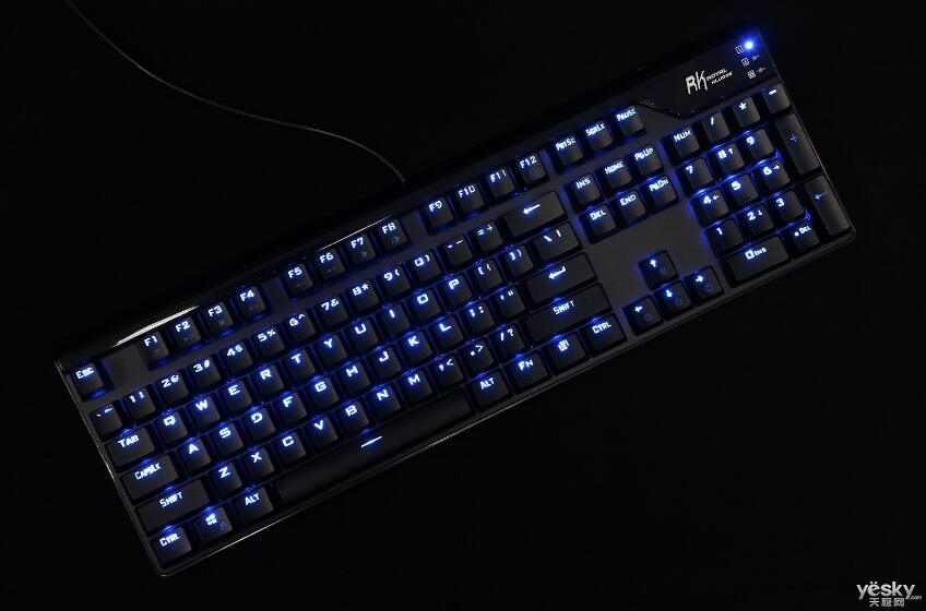 RK RG928 Blue Backlit 104 Keys ABS Double Shot Keycaps Greetech Blue Switches Gaming Mechanical Keyoboard