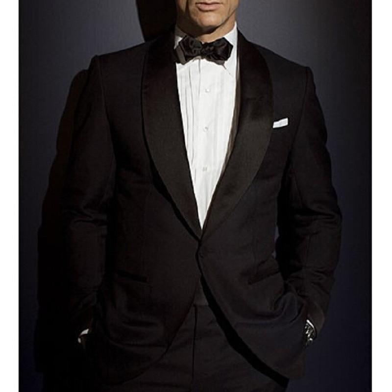 Custom Made black mens suits tuxedo jacket men Suit James Bond dress wear to wedding Suit For Men Groom Jacket+Pants+Bow tie Рубашка