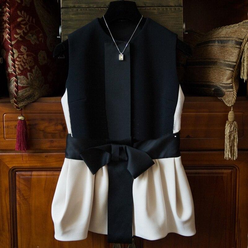 2019 Nieuwe ontwerp vrouwen mode jas vesten meisjes casual cool street style vesten zwart slim lady mouwloze boog S M L XL # H810-in Vesten en gilets van Dames Kleding op AliExpress - 11.11_Dubbel 11Vrijgezellendag 1