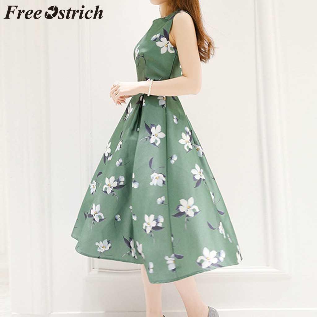 LIVRE AVESTRUZ Cinto de Impressão Vestido Sem Mangas Mulheres O Pescoço A Linha de Mid-Calf Bonito Verde Atual Elegante Gracioso Vestido Longo Verão