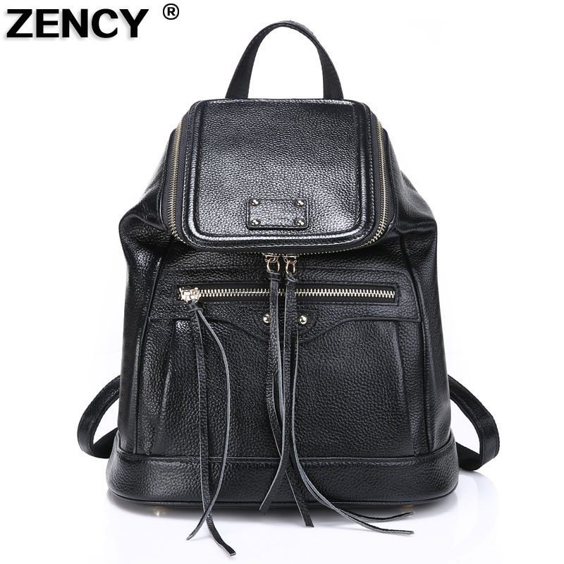 2018 ZENCY New 100% Soft Real Genuine Leather Women Real First Layer Cowhide Fashion Designer Girl Casual Backpack School Bags 2017 new female genuine leather handbags first layer of cowhide fashion simple women shoulder messenger bags bucket bags