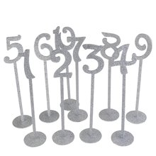 Set of 20pcs Wedding Table Numbers Holders 1 to 20  Thicken Wood with Glitter, Silver