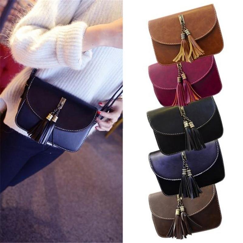 2017 Women Fashion Tassel Messenger Bags Girl Handbag Shoulder Bags Wallets Totes Purse Leather Gift N774