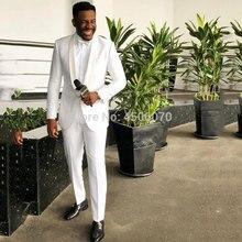 White Formal Men Suits Slim Fit Wedding Tuxedos Shawl Lapel Groomsman Costume Homme Bridegroom Blazer 2Pcs Jacket Pants
