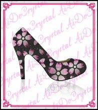 Aidocrystal 2015ลายดอกไม้ใหม่สไตล์อิตาลีรองเท้าคริสตัลรองเท้าส้นสูง