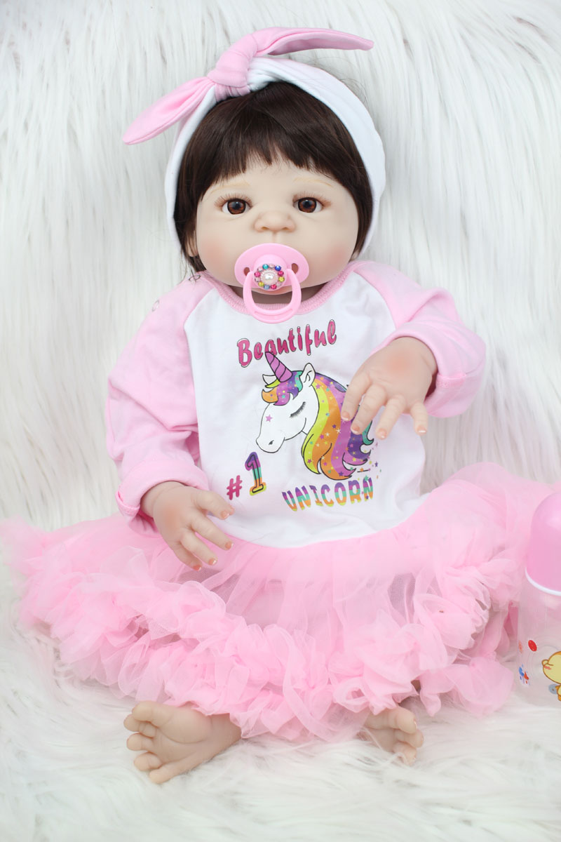55 см всего тела силиконовые возрождается для маленьких девочек игрушка 22-дюймовый принцессы для новорожденных малышей Кукла с Единорог Пла...