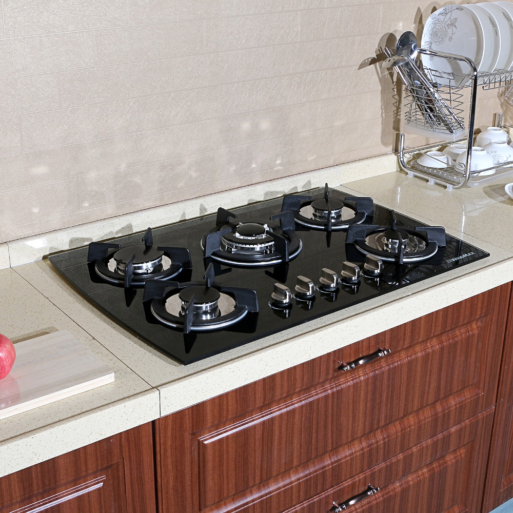 30 Black Glass LPG NG Built In Kitchen 5 Burner Oven Gas Cooktop Stove
