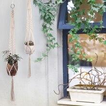 9 тип подвесные корзины Подвеска для растений из макраме держатель цветочного горшка вешалка для украшения стен сад джутовый канат Плетеный ремесло