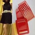 2016 Mujeres de la moda de ancho cinturón de cuero sintético de la vendimia hueco de la flor Grande de metal hebilla de cinturón de correas para las mujeres accesorios