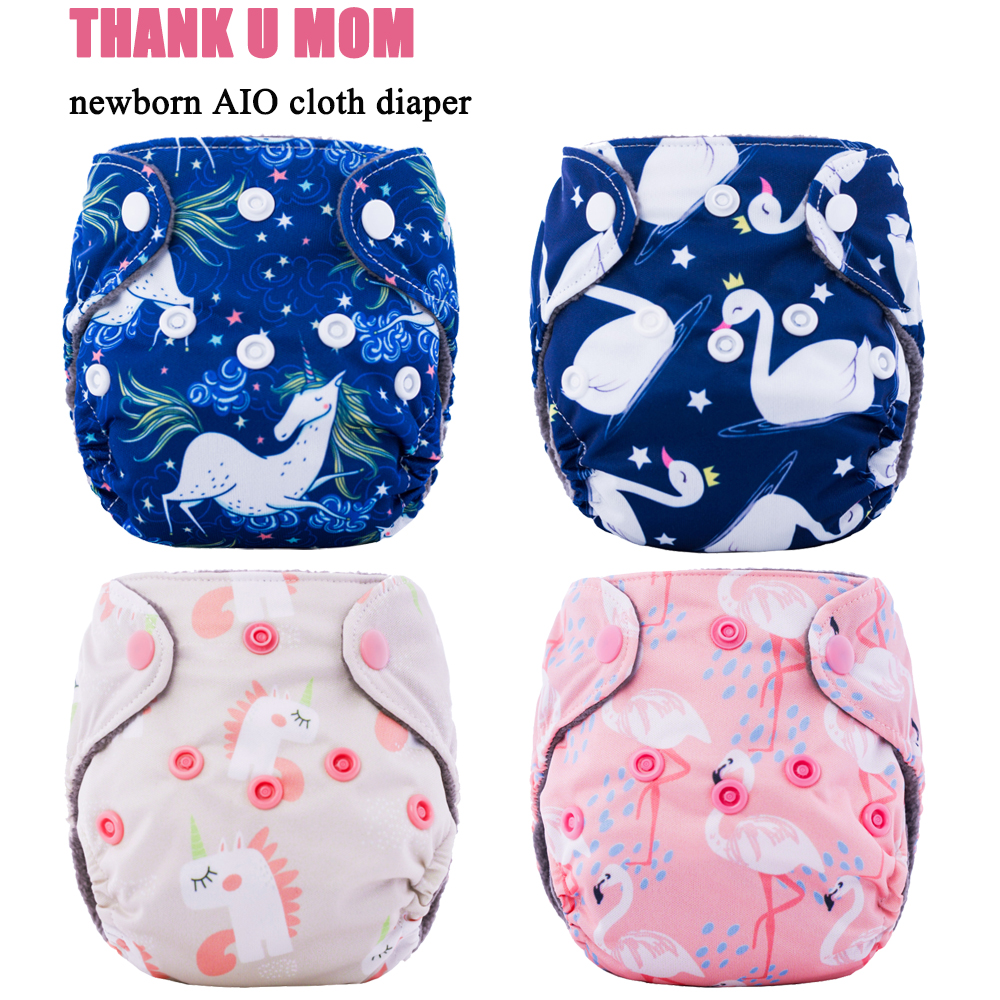 Thank U Mom Newborn Diapers Tiny AIO Cloth Diaper Bamboo Charcoal Lining Double Gussets Waterproof PUL Outer Fit 2-5KG Baby