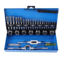 32Pcs Alloy Steel Durable Adjustable Metric Tap Die Holder Thread Gauge Wrench Tools T handle Tap Holder Threading Repair