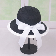 Women Summer Beach Straw Black White Alone Ribbon Hat Bow Knot Straw Hat Temperament Dome Straw Hats Women's Sea Beach Hat chic black ribbon embellished summer straw hat for women