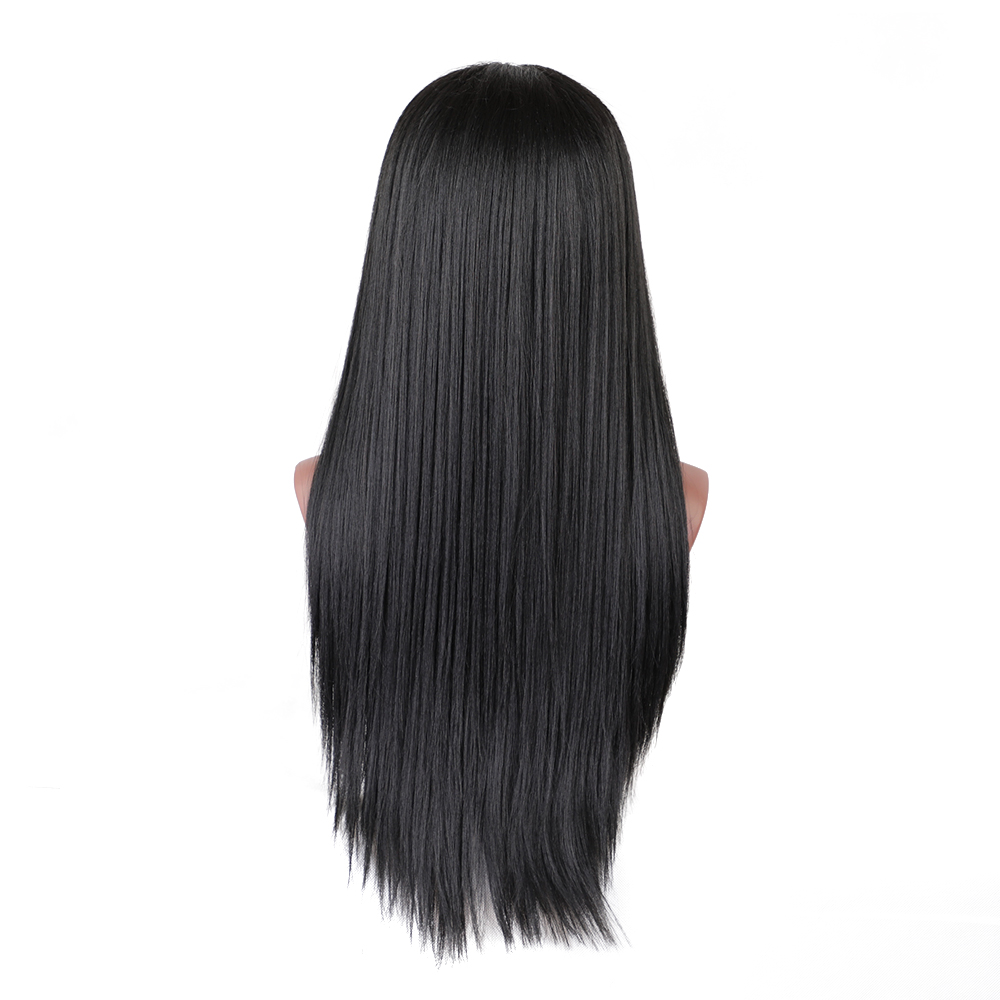 Element Swiss Lace Front Wig 1b # Svart 26 tum 130% Density Long - Syntetiskt hår - Foto 4