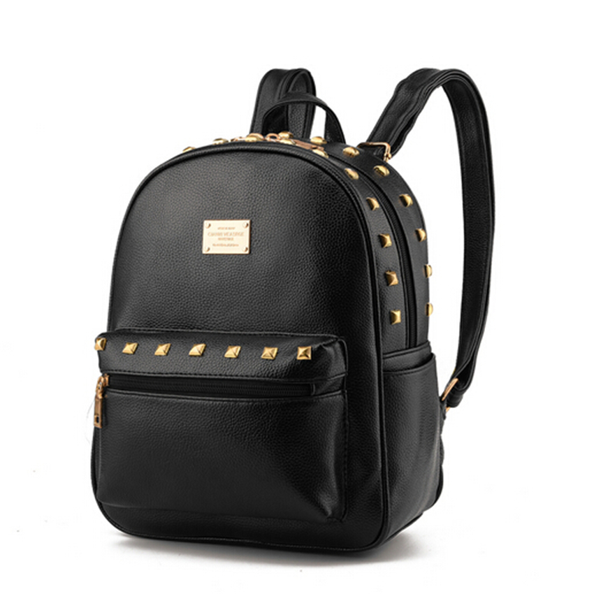 2017 Women Punk Rivet Backpacks Bolsas Mochila Leather Candy Colors Girls School Bags Ladies Shoulder Bag Femme Sac A Dos Beige retro rivet backpacks 2017 hip hop pu leather men s backpacks vintage punk skull women teenage backpacks bolsas mochilas