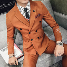 Double Breasted Suits Men Ternos Masculinos Latest Coat Pant Designs Embroidered Blazer Slim Fit Mens Suits Wedding Suit 2019(China)