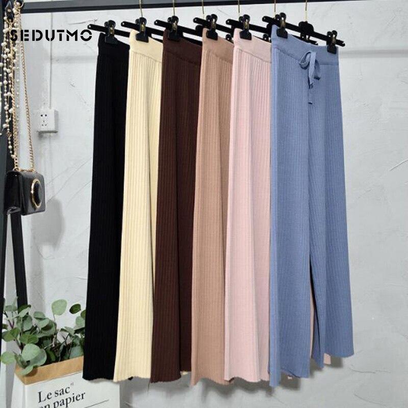 SEDUTMO Spring High Waist Wide Leg Pants Women Knitted Pant Loose Trousers Vintage Casual Streetwear Black Sweatpants ED604 3