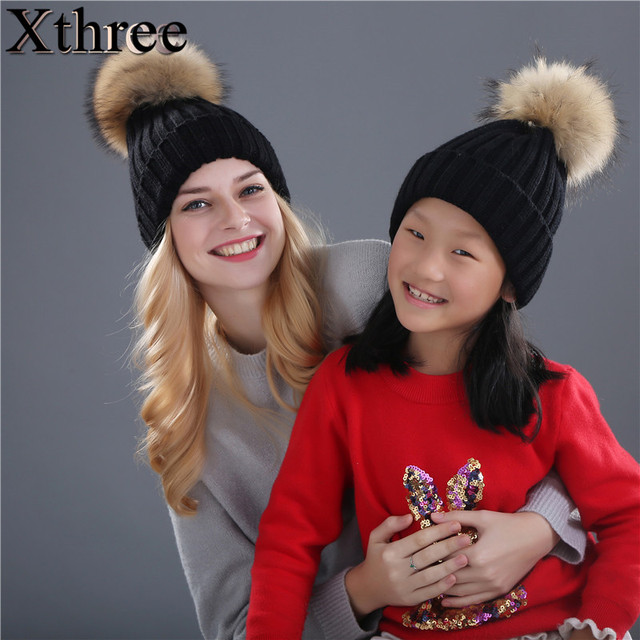 cb2bec7a123 Xthree real mink fur pom poms knitted hat ball beanies winter hat for women  girl  s hat Skullies brand new thick female cap