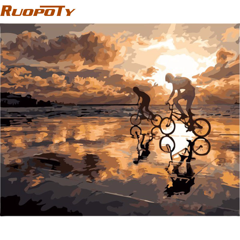 RUOPOTY Cornice Fai da te Pittura By Numbers Home Decor Wall Art Picture Kit Pittura acrilica su tela Wall Art 40x50cm Tramonto Ciclismo