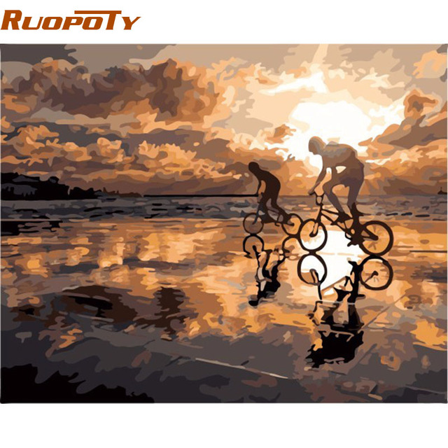 RUOPOTY Frame Diy Painting By Numbers Home Decor Wall Art Picture Kits Acrylic Paint On Canvas Wall Art 40x50cm Sunset Cycling