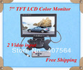 """Free shipping  7"""" Car Rear view Monitor HD TFT Color LCD Monitor display DVD VCR with 2 Video Input"""