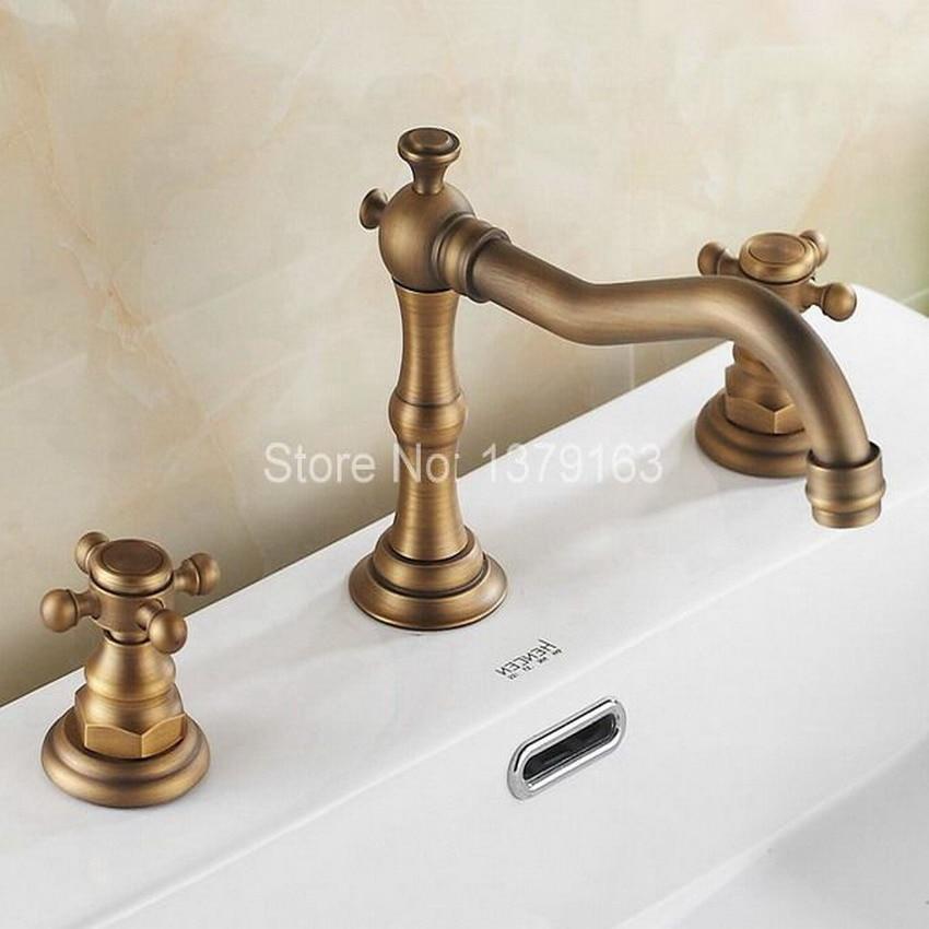 Antique Brass Dual Cross Handles Widespread 3 Hole Install Bathroom Sink Basin Faucet Mixer Taps aan026 antique brass swivel spout dual cross handles kitchen