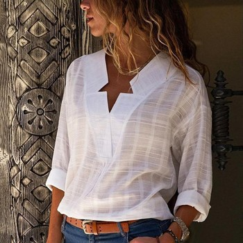 New Fashion Women Star V-Neck Blouse Shirt Long Sleeve Female Sexy Tee Tops Women Cotton Linen Shirt Blusas Feminine Blouses