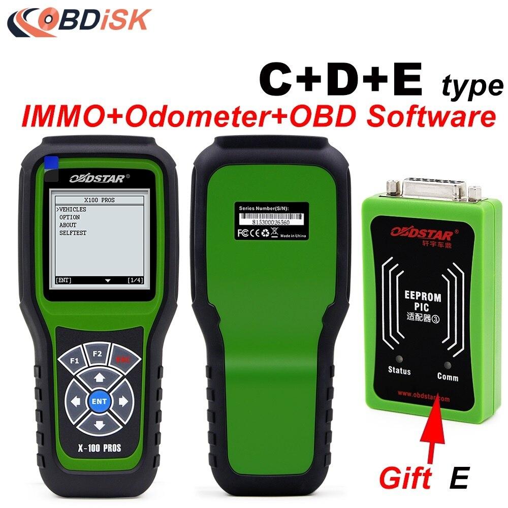 imágenes para 2017 Original X100 OBDSTAR PROS C + D + E modelo para IMMO + Cuentakilómetros + OBD Software X-100 pros Tipo C Tipo D + D + EEPROM Adaptador de DHL