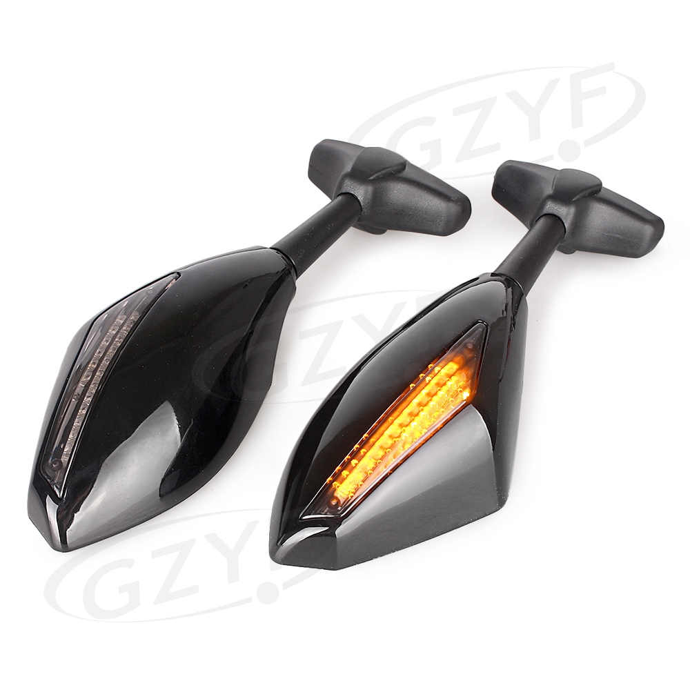 Motorcycle Rear View Side Wing Mirrors w/ LED Trun Signal Lamp Light For Honda Kawasaki Suzuki Yamaha Ducati All Street Bikes
