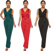 iRicheraf Summer Women Casual Sleeveless Jumpsuits Fashion Ladies Bodysuit Loose Long Pants Trousers Rompers Womens Jumpsuit Red