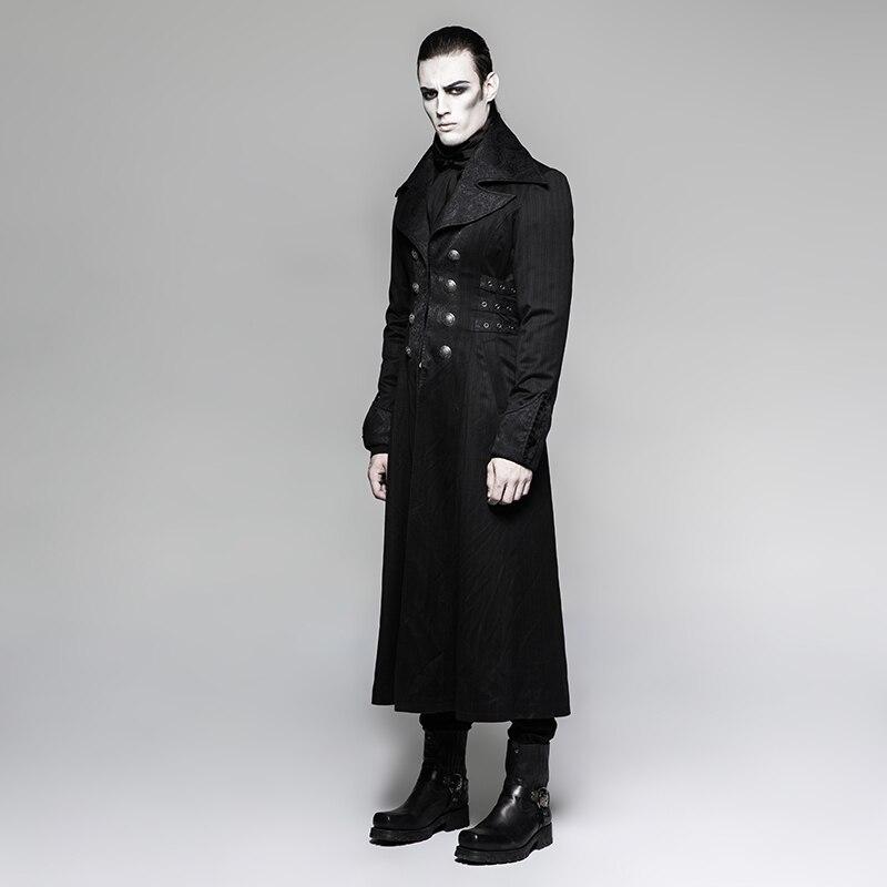 Стимпанк мужская длинная куртка в черную полоску с красными полосками пальто зимнее пальто Сценический костюм для костюмированной вечеринки - 2