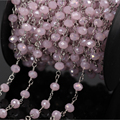 5Meter Pink Crystal Glass Faceted Rondelle Silver Chain,Wire Wrapped Rosary Chains Beaded,Women Sweet Sweater Chains Jewelry