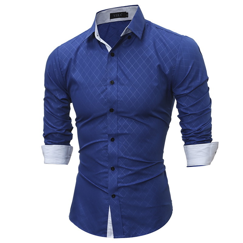 Plaid Shirts Men 17 Hot Sale Dress Long Sleeves Shirts Fashion Slim Fit Camisa Masculina Size XXL Casual Men Shirts YT666 5