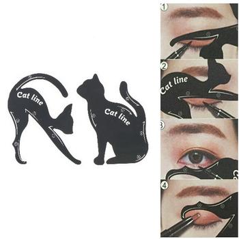 2 sztuk = 1 zestaw kobiety Cat Line Eyeliner szablony DIY dekoracje Pro Eye szablon Shaper Model łatwe do makijażu narzędzie tanie i dobre opinie KuZHEN Zestaw do makijażu good 1set Women Cat Line Eyeliner Stencils Pro Eye Makeup Tool