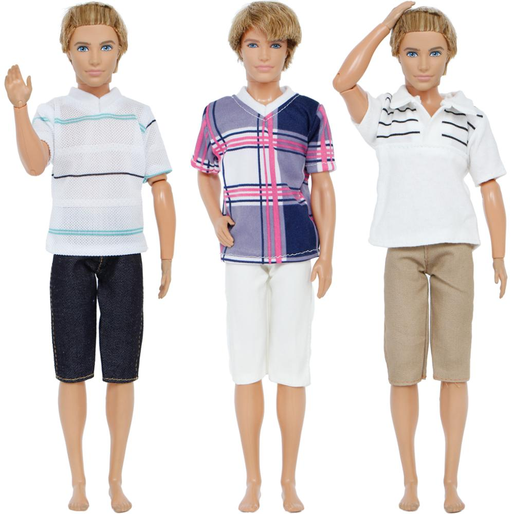 Fashion 3 Sets/Lot Men Outfit Mixed Style Summer T-shirt Pants Casual Wear Clothes For Barbie Ken Doll Accessories Gift Toy nk one set casual wear t shirt trousers summer outfit short pants ken clothes for barbie ken doll accessories wholesale