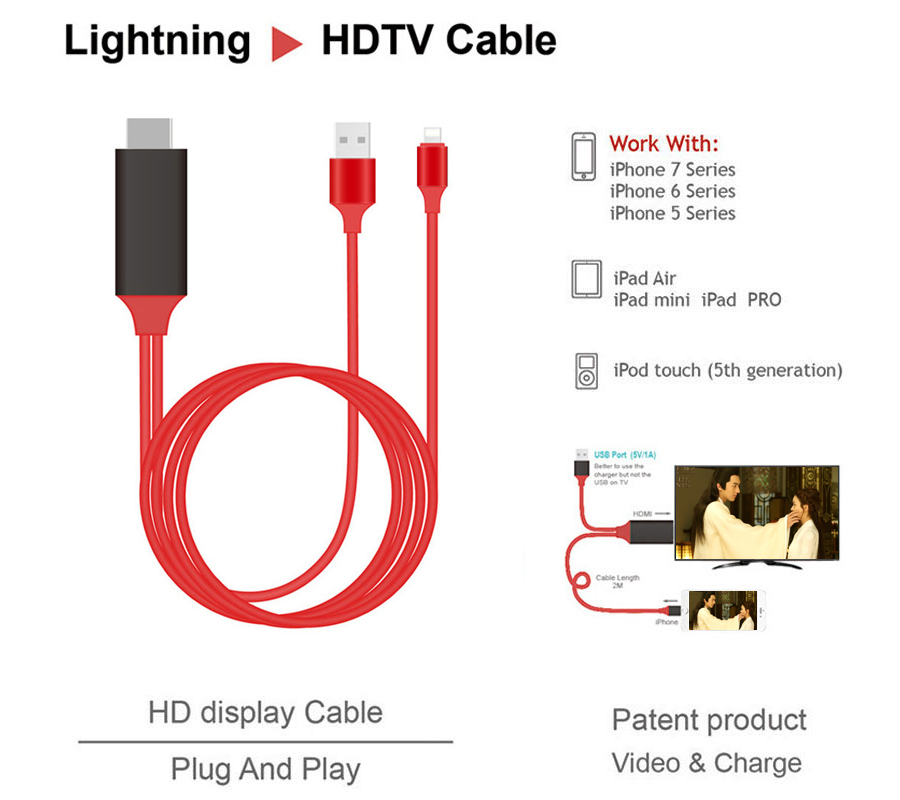L7 HDTV cable HD display Cable Adapter 1080P full HD Plug&Play HDMI to HD TV work with chrome cast FOR IPhone 7 6 5 series iPad