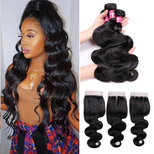 Mstoxic Body Wave Bundles With Closure Brazilian Hair Weave Bundles With Closure Non Remy Human Hair Bundles With Closure