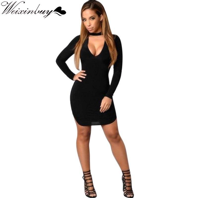 a1ef5270bfe272 WEIXINBUY Women Deep V Neck Dress Club Wear Spring Summer Bandage Bodycon  Long Sleeve Sexy Black